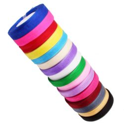 20 Rolls, ORGANZA RIBBON, 50 YARDS Rolls, 20 Different Colours; Size 10MM
