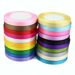 20 ROLLS 6mm SATIN RIBBON, 20 COLOURS; 25 Yards Each Roll; RRP £20.00
