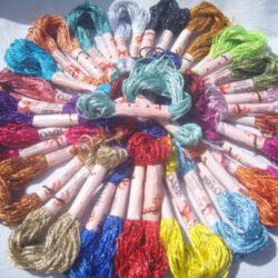 25 Skeins Large Silk Stranded Glitter Twisted Embroidery Threads Skiens