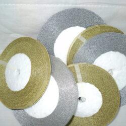 6 Gold/Silver Metallic Organza Ribbon 25 Yards Each Roll