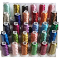 30 Metallic Embroidery Spools, 30 different Colours x 500 Meters (550 Yards) Each