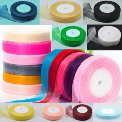 20 Rolls, ORGANZA RIBBON, 50 YARDS Rolls, 20 Different Colours; Size 20MM