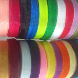 25 Rolls, ORGANZA RIBBON, 50 YARDS Rolls, 25 Different Colours; Size 12MM